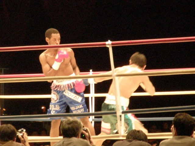 "On the left, Panamanian boxer Celestino ""Pelenchin"" Caballero during the fight"