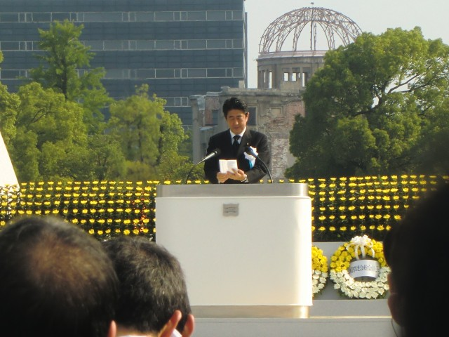 The Prime Minister Shinzo Abe, during his speech in the ceremony in Hiroshima.