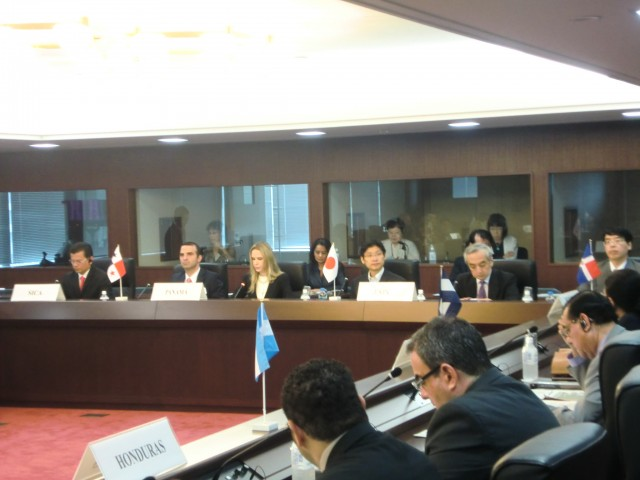 During the plenary session of the Sxteenth Meeting of the Forum for Dialogue and Cooperation between the Central American Integration System (SICA) and Japan.