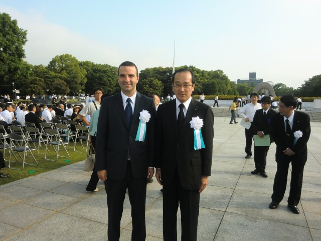 From left to right, H.E. Jorge Kosmas Sifaki, Ambassador of Panama to Japan and H.E. Kazumi Matsui, the Hiroshima Mayor, in the sixty-eighth memorial ceremony for victims of the atomic bomb, in Hiroshima.