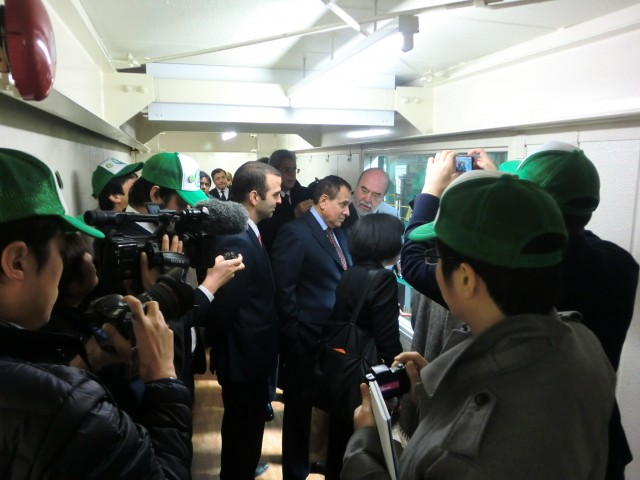During the tour in the recycling plant of Ishizaka Sangyo Co., Ltd.