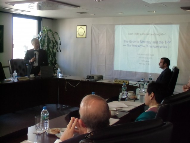 During the presentation of Professor Yorizumi Watanabe from Keio University.