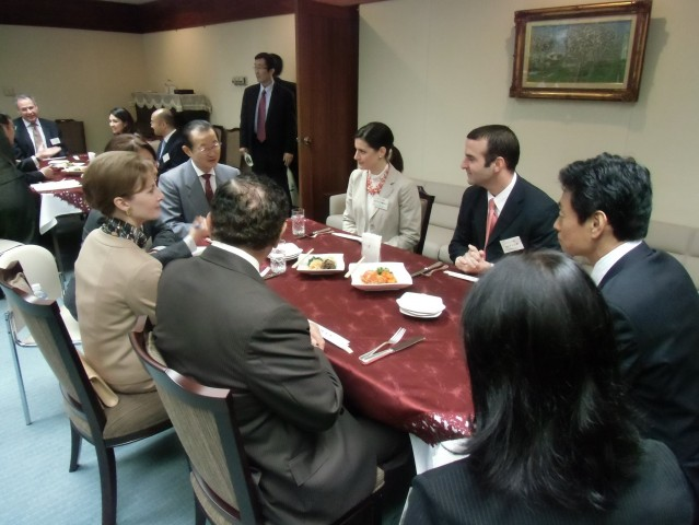 During the lunch, Ambassador Kosmas exchanged opinions with Mr. Takeo Kawamura and Mr. Yasutoshi Nishimura, Members of the House of Representatives of Japan.