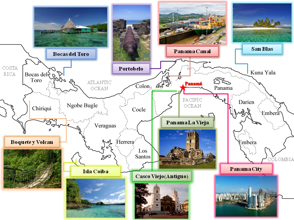 Tourism EMBASSY OF PANAMA IN JAPAN – Panama Tourist Attractions Map