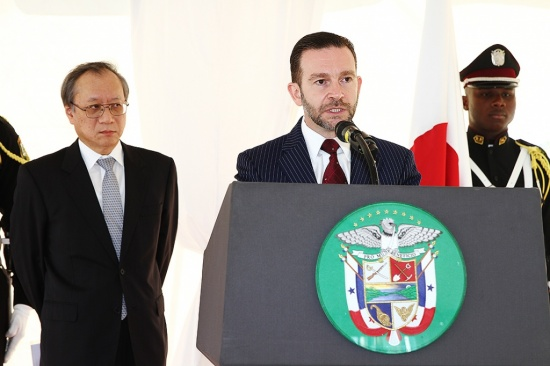 The Minister for Foreign Affairs of Panama, H.E. Francisco Álvarez De Soto, during the memorial ceremony.