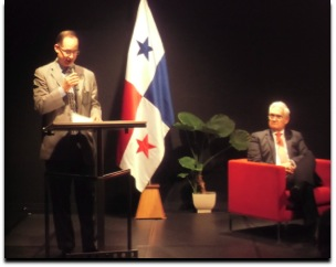 "Mr. Ritter N. Díaz, Chargé d' Affairs, a.i. of the Embassy of Panama in Japan, together with Mr. Jorge Quijano, Administrator of the Panama Canal Authority, during the Presentation of the Historical Novel ""Caballo de Oro (Golden Horse)"" on the occasion of 100th anniversary of the opening of the Panama Canal."