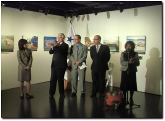 Opening remarks of the Photographic Exhibition of the Panama Canal, from left, Ms. Maki Kobayashi, Director of Mexico, Central America and Carribean Division of Ministry of Foreign Affairs of Japan, Mr. Jorge Quijano, Administrator of the Panama Canal Authority, Mr. Ritter N. Díaz, Chargé d' Affairs, a.i. of the Embassy of Panama in Japan, and Mr. Antonio Gil de Carrasco, Director of Instituto Cervantes Tokyo.