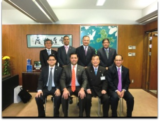The delegation of Panama Maritime Authority during the courtesy visit to the Mayor of Imabari.