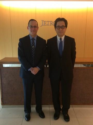 The Ambassador Díaz with the President of JETRO, Mr. Hiroyuki Ishige.