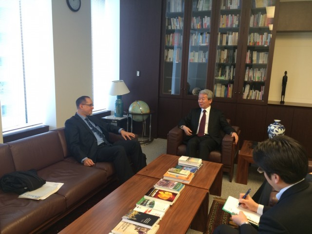 During the meeting with the President of JICA, Mr. Akihiko Tanaka.