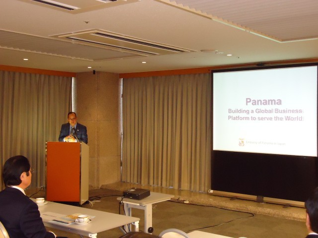 H.E. Ritter Díaz, Ambassador of Panama to Japan, during the presentation of Panama.