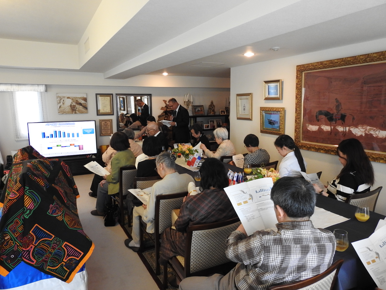 Participants, during the presentation of the Ambassador of Panama