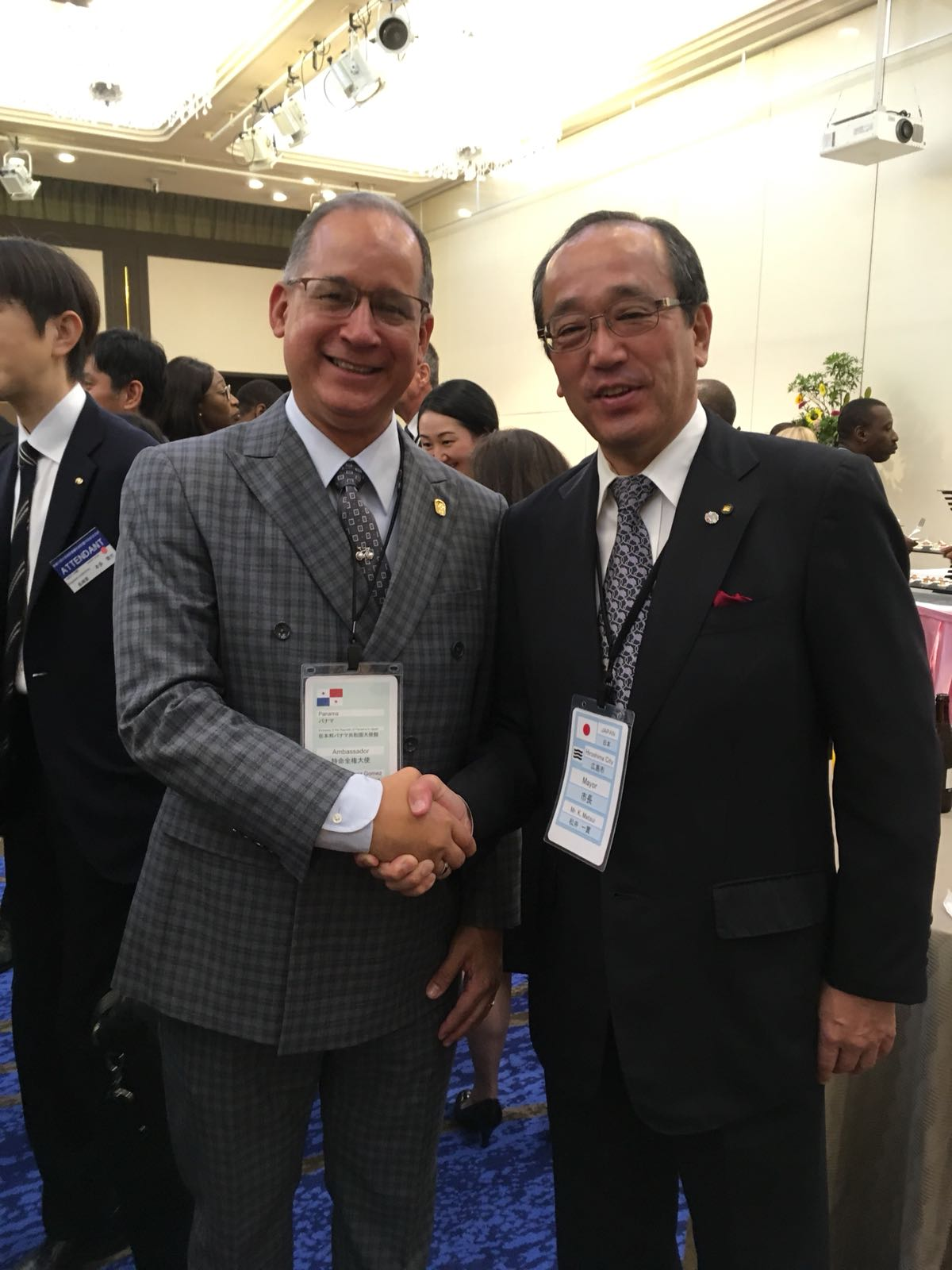 Ambassador Diaz with Mr. Kazumi Matsui, Mayor of Hiroshima city at the welcome reception held by Hiroshima city. .