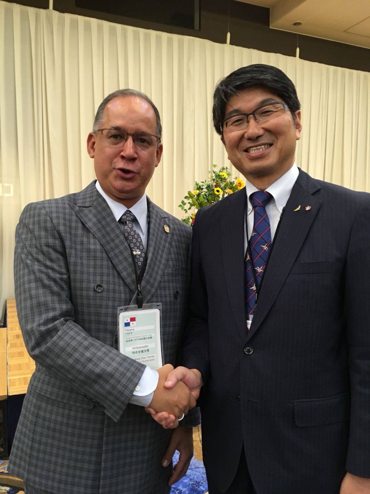 Ambassador Diaz with Mr. Tomihisa Taue, Mayor of Nagasaki city at the welcome reception held by Nagasaki city.