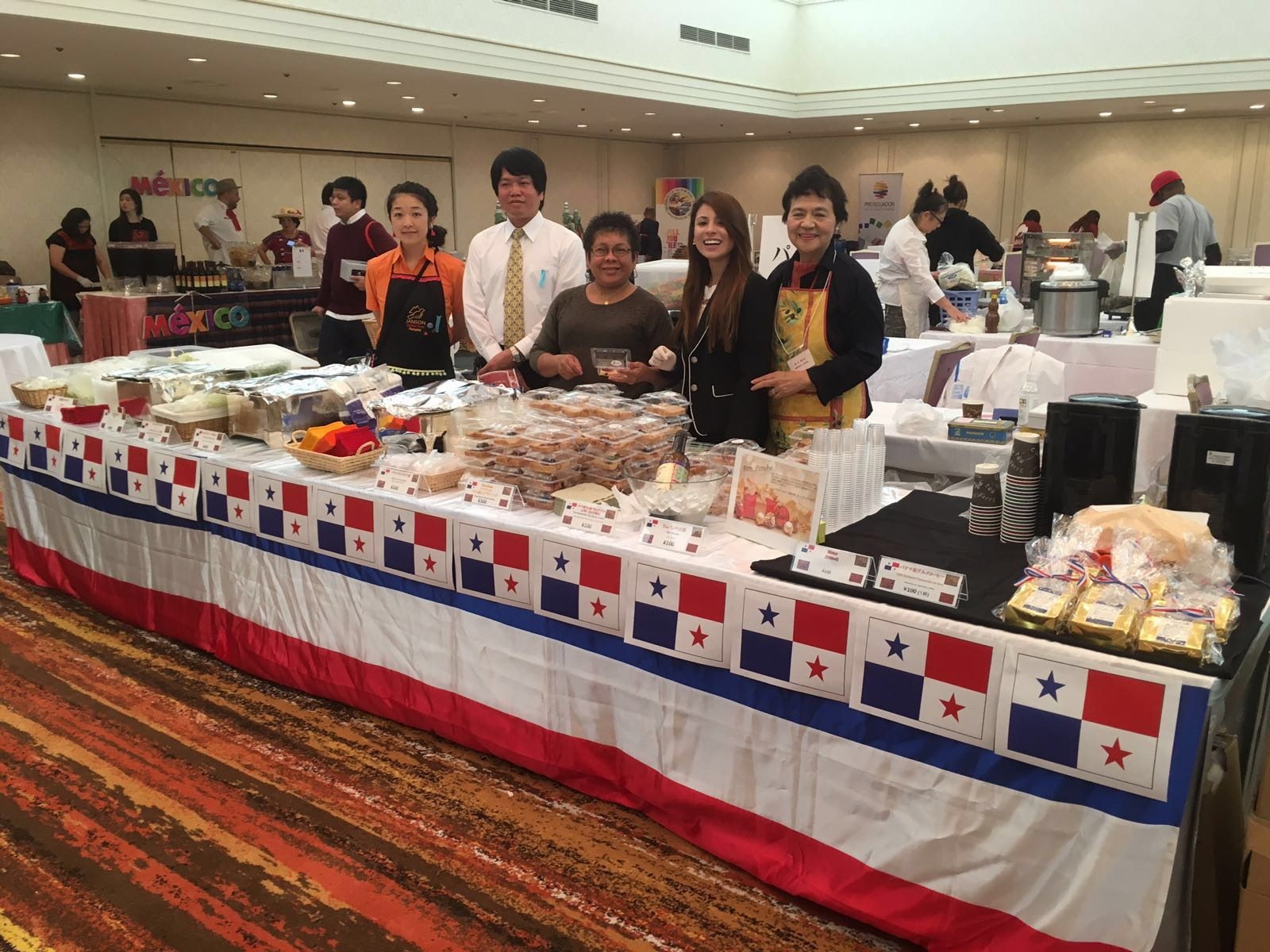The food table with the Embassy staffs
