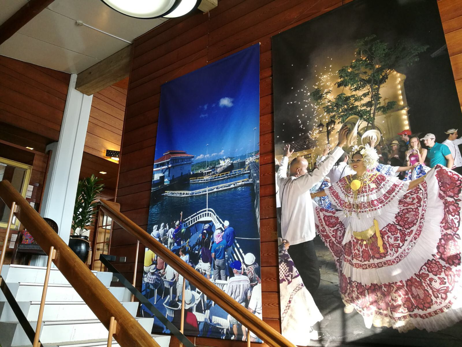 Decoration with the posters and banners oftourism of Panama