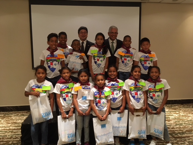Mayor Blandon and Deputy Mayor Ochi with the students